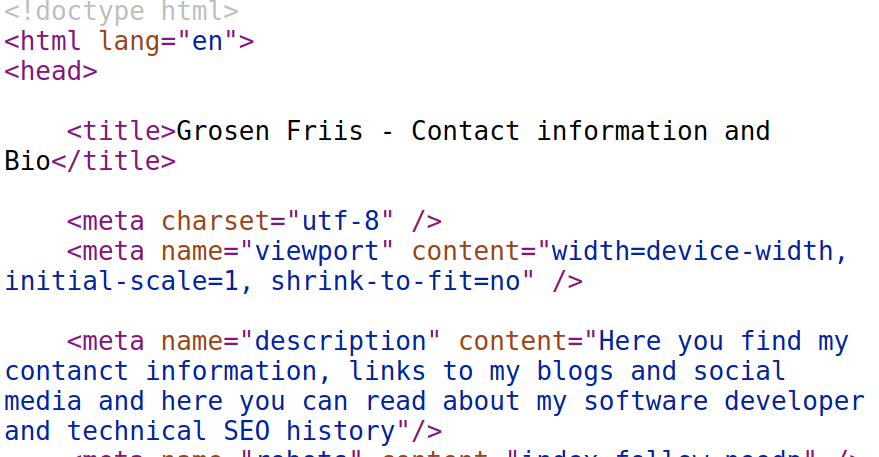 Example: Title and Meta Description appear in HTML code